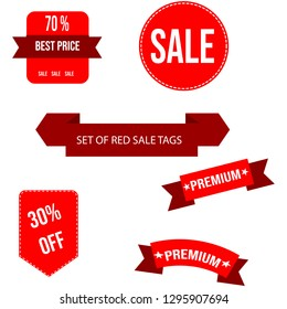 Red vectors sale price tags with text inside and 2 ribbons