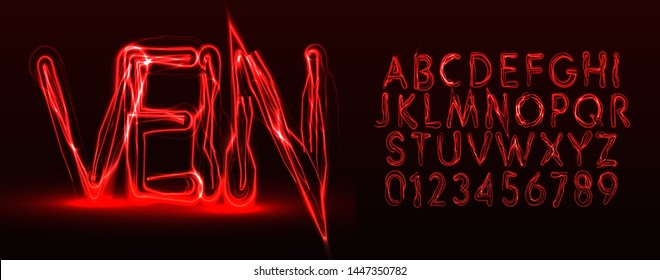 Red veins style vector latin alphabet. Halloween letters and numbers set. Terrible Font for events, promotions, logos, banner, monogram and poster. Typography design.