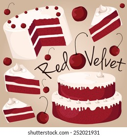 Red velvet, cake with a red color