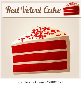 Red Velvet Cake. Detailed Vector Icon. Series of food and drink and ingredients for cooking.