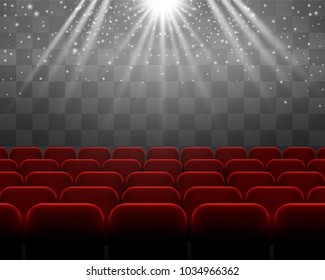 Red velvet chairs vector rows, theater, performance atmosphere. Floodlight illumination over the audience. Picture palace, concert or show event for posters, ads, banners.