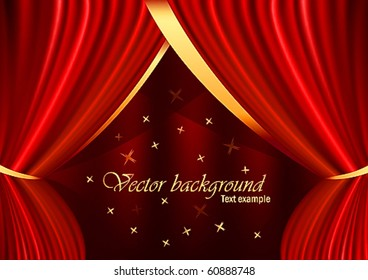 Red velvet curtain with gold ornaments, stars and a place for the text