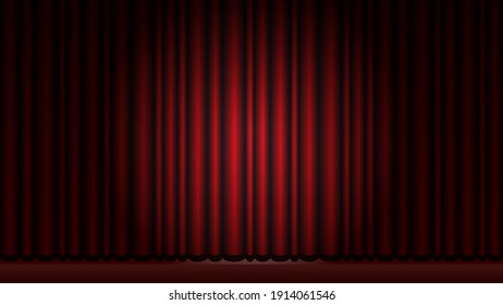 Red velvet curtain in theater or cinema. Flashlight. Scene. Stage. Realistic digital illustration. Vector EPS10.
