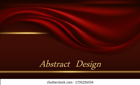 Red velvet luxury background for banner or poster design. Golden border lines and smooth red fabric curtain. Abstract vector illustration