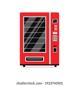 Red vending machine isolated on white background. Empty vending machine. Snacks and drinks concept. Vector stock