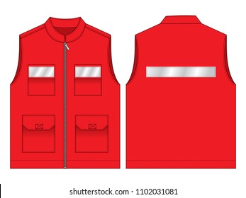Red Vest Design Vector With Gray Reflective Tape.Front and Back Views.