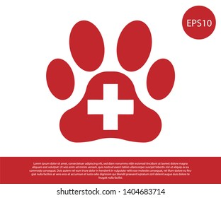 Red Veterinary clinic symbol icon isolated on white background. Cross hospital sign. A stylized paw print dog or cat. Pet First Aid sign. Vector Illustration