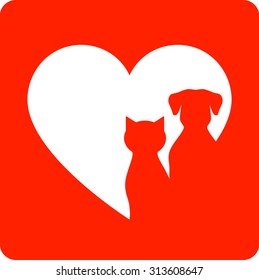 red veterinary sign with pet silhouette and heart