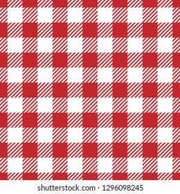Red vichy pattern for picnic tablecloth design. Striped texture. Traditional gingham fabric style.