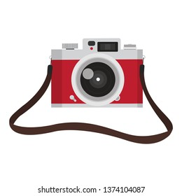 red vintage camera with camera strap