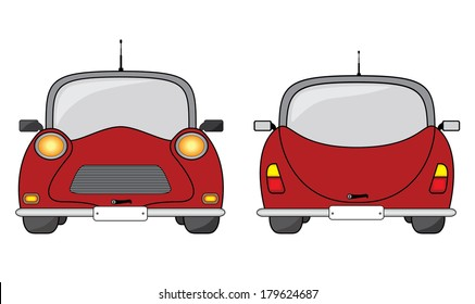 Red vintage car, front and back view, creative vehicle vector illustration.