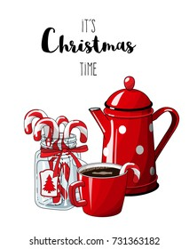 Red vintage coffee pot with cup an glass jar with candy canes isolated on white background, with text It's Christmas time, , illustration in country style, vector illustration, eps 10 with