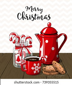 Red vintage coffee pot with cup. glass jar with candy canes and cookies on brown wood, with text Merry Christmas, illustration in country style, vector illustration, eps 10 with transparency