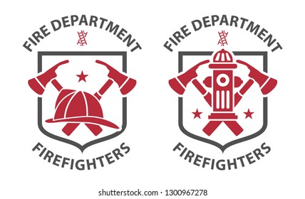 Red vintage fireman pictograms in grey shield