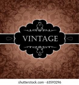 Red Vintage Frame Design For Greeting Card. Eps10.