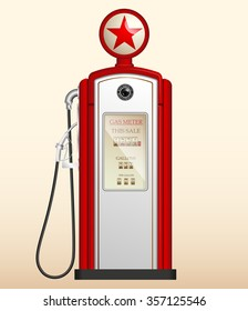 red vintage gas station in the US