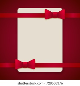 Red vintage greeting card template with bow and ribbon. Vector wedding invitation design. Anniversary template design for any celebration. Marriage, birthday, christmas, baby shower flyer.