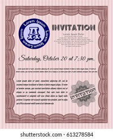 Red Vintage invitation. With guilloche pattern and background. Retro design. Customizable, Easy to edit and change colors.