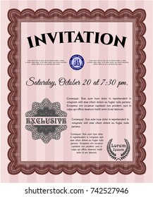 Red Vintage invitation template. With guilloche pattern and background. Customizable, Easy to edit and change colors. Lovely design.