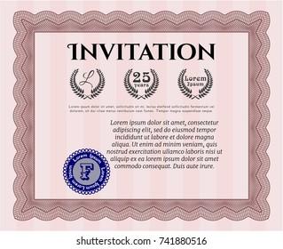 Red Vintage invitation template. Modern design. Complex background. Vector illustration.