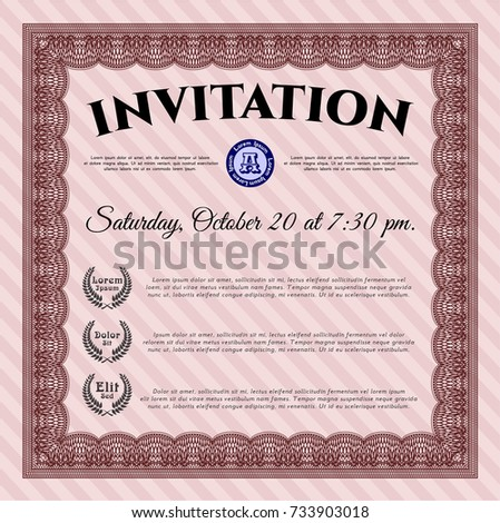 Red Vintage Invitation Template Money Design Stock Vector Royalty