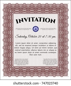 Red Vintage invitation template. Nice design. Detailed. With complex linear background.