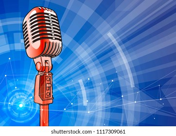 Red vintage microphone on a blue technological background is surrounded by a sound wave. Atmosphere of sound recording studio, chamber concert, night disco club or karaoke club / vector