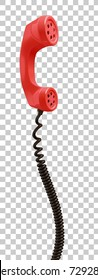 Red vintage phone receiver, call center and contact support concept, vector art isolated on transparent background.