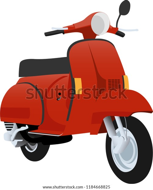 red vintage scooter vector illustration stock vector royalty free 1184668825 shutterstock