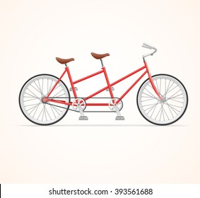 Red Vintage Tandem Bicycle on White Background. Vector illustration