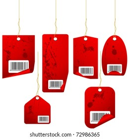 Red vintage vector price tags set isolated on white