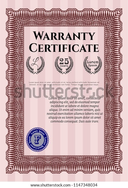 Red Vintage Warranty Certificate template. With background. Superior design. Customizable, Easy to edit and change colors.