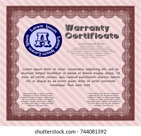 Red Vintage Warranty template. Modern design. Vector illustration. Printer friendly.