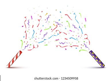 Red and violet tubes with exploding serpentine isolated on white background. Vector holiday background