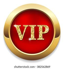roter Vip-Button mit goldener Grenze, weißer Hintergrund