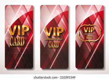 red  Vip cards with the abstract background