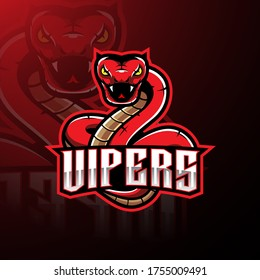 Red viper snake mascot logo design