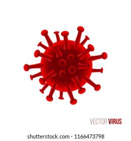 Red virus isolated on white background. Vector medicine illustration