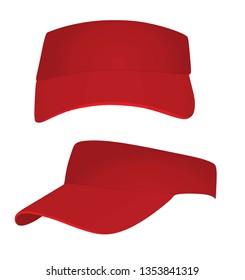 Red visor cap. vector illustration