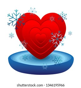 Red volumetric gradient heart and in a blue bowl filled with ice or water and snowflakes around