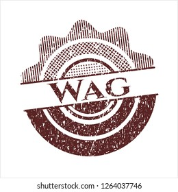 Red Wag distressed rubber grunge seal