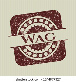 Red Wag rubber grunge texture stamp