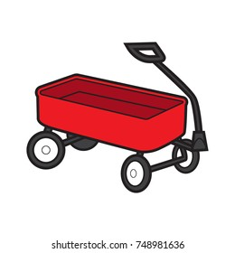 red wagon vector cartoon