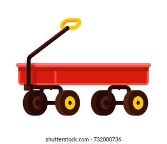 red wagon wheelbarrow flat style vector illustration