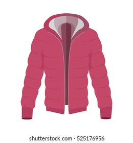 42f71cdc232 Red warm down jacket icon. Unisex everyday clothing in casual style for  cold weather flat
