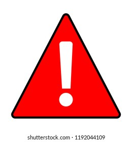 red warning attention caution sign on white background. flat style. caution icon template logo. load sign with exclamation point exclamation mark flat style. exclamation danger sign.