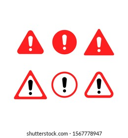 Red warning sign. exclamation, alert. Set of signs.
