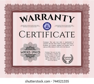 Red Warranty Certificate template. With guilloche pattern. Customizable, Easy to edit and change colors. Good design.
