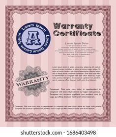 Red Warranty Certificate template. With linear background. Money design. Vector illustration.