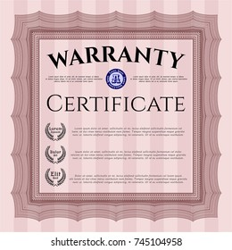 Red Warranty. Perfect design. Vector illustration. With quality background.